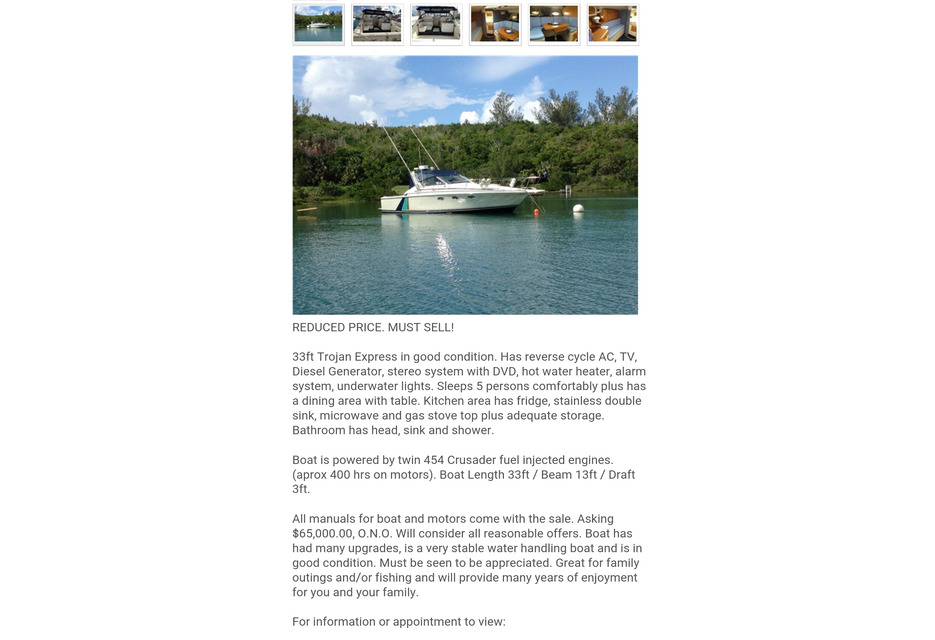 Boats & Parts For Sale | 33 Ft Trojan